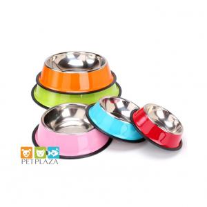 Tô bát inox cho chó mèo in màu size 16 cm chân bát có đệm cao su - phụ kiện thú cưng pet plaza
